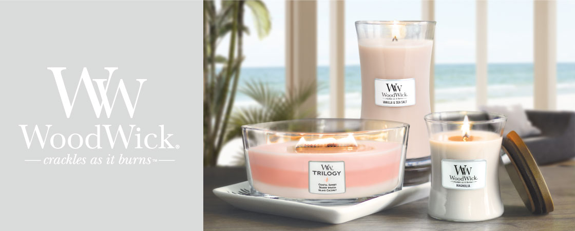 Premium wooden wick candles that crackle as they burn