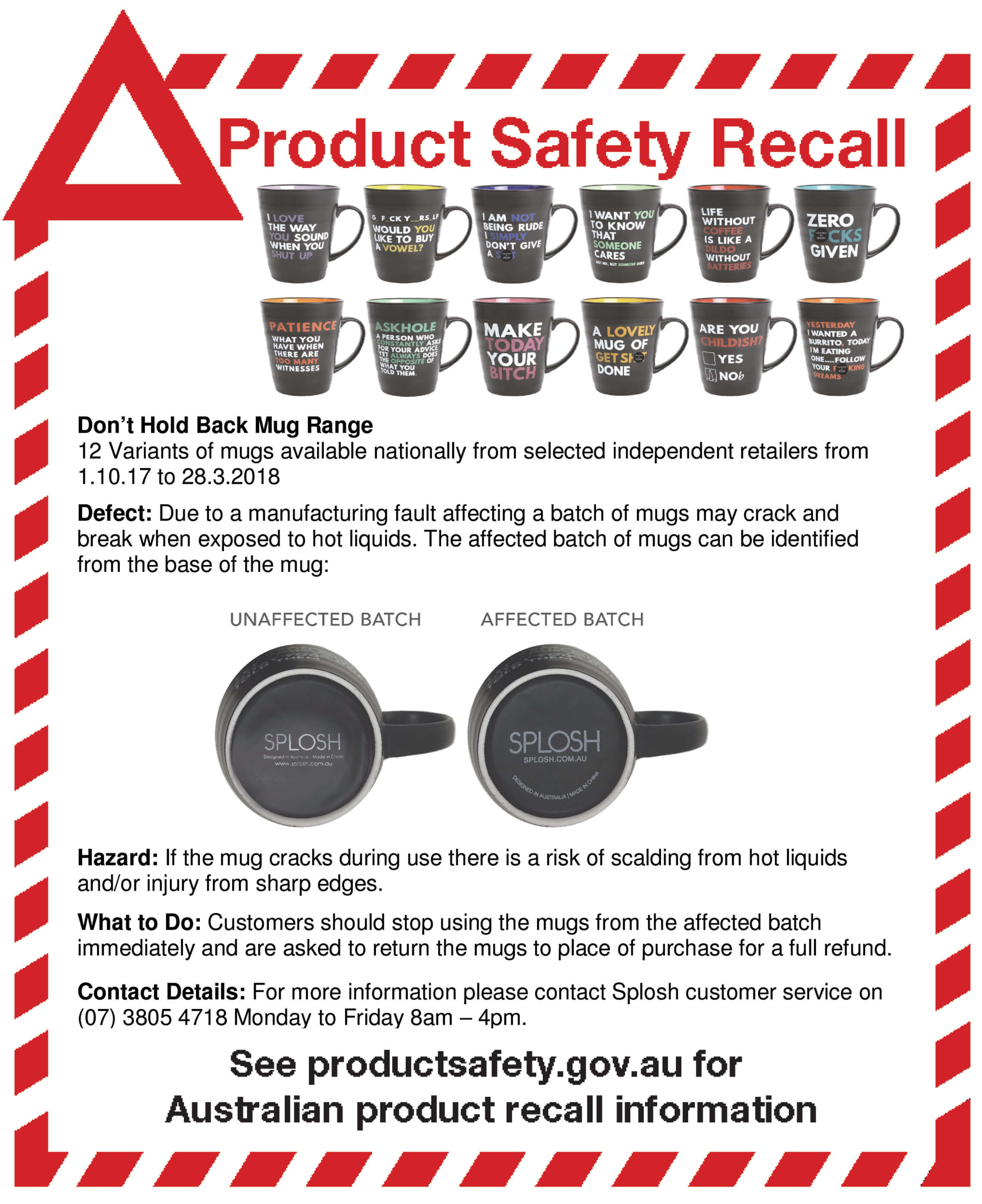 Don't Hold Back Mug Recall